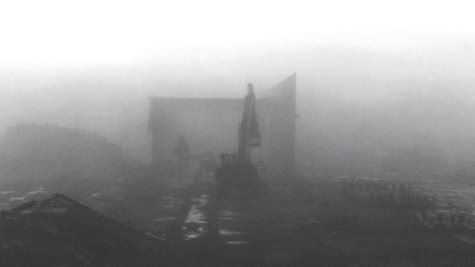 The deconstruction of a brick kiln factory on a misty morning Mist Misty Fog Foggy Teardown Breakdown Demolish Factor Stone Stones Stonework Brickkiln Brick Bricks Analoge Konica Minolta Clouds Early Morning Monochrome Monochrome Photography Machinery