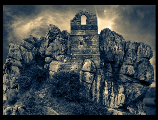 Roche Rock Hermitage Dramatic Ruins Cornwall Rocks Looking Up Human Vs Nature Perfect Match Light And Shadow Black And White Blackandwhite Black And White Photography Dark Photography Dark Fairytale Black & White Black And White Landscape The KIOMI Collection
