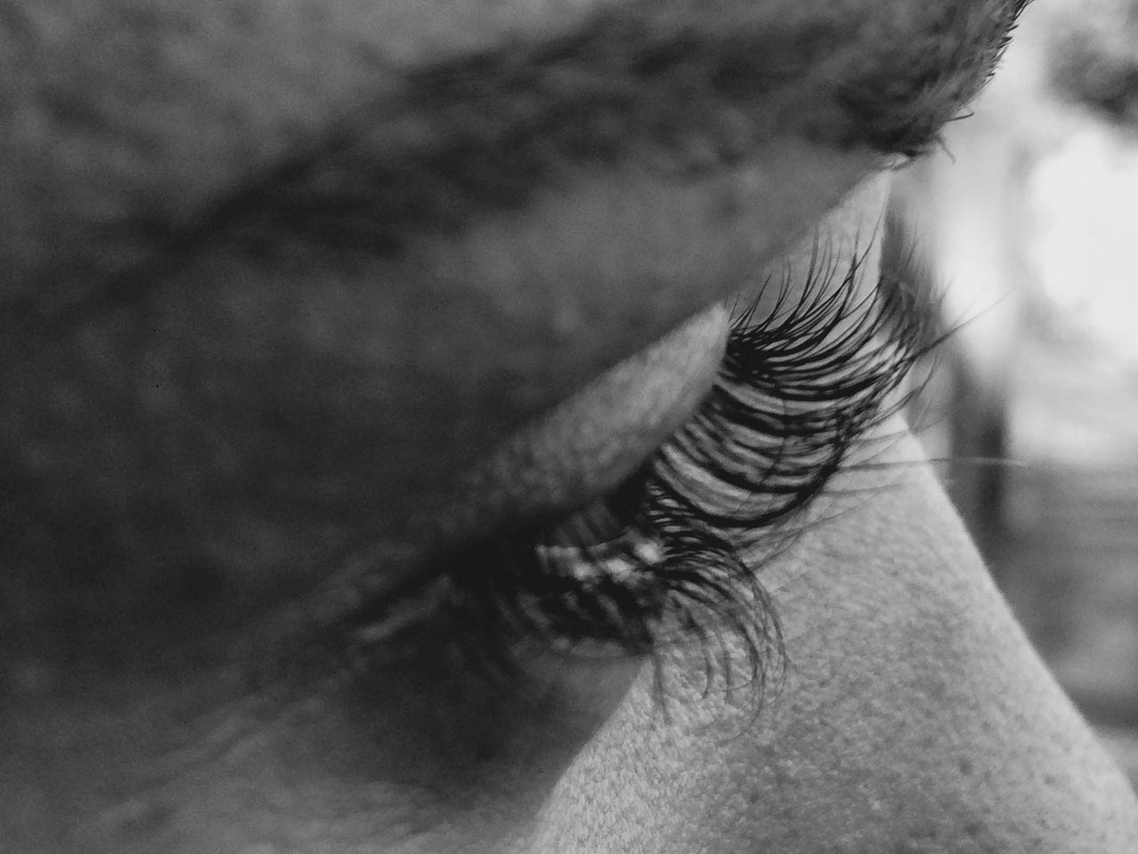Blackandwhite Close-up Eye Headshot Human Face Part Of Serious Young Adult