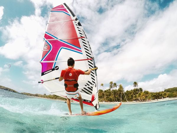 Time : 1:00 pm Adult Adventure Blue Boys Children Only Cloud - Sky Courage Damn Day Full Length Fun Males  Men Nature One Person Outdoors Paradise People Sky Vacations Water Windsurf Windsurfing Young Adult EyeEmNewHere