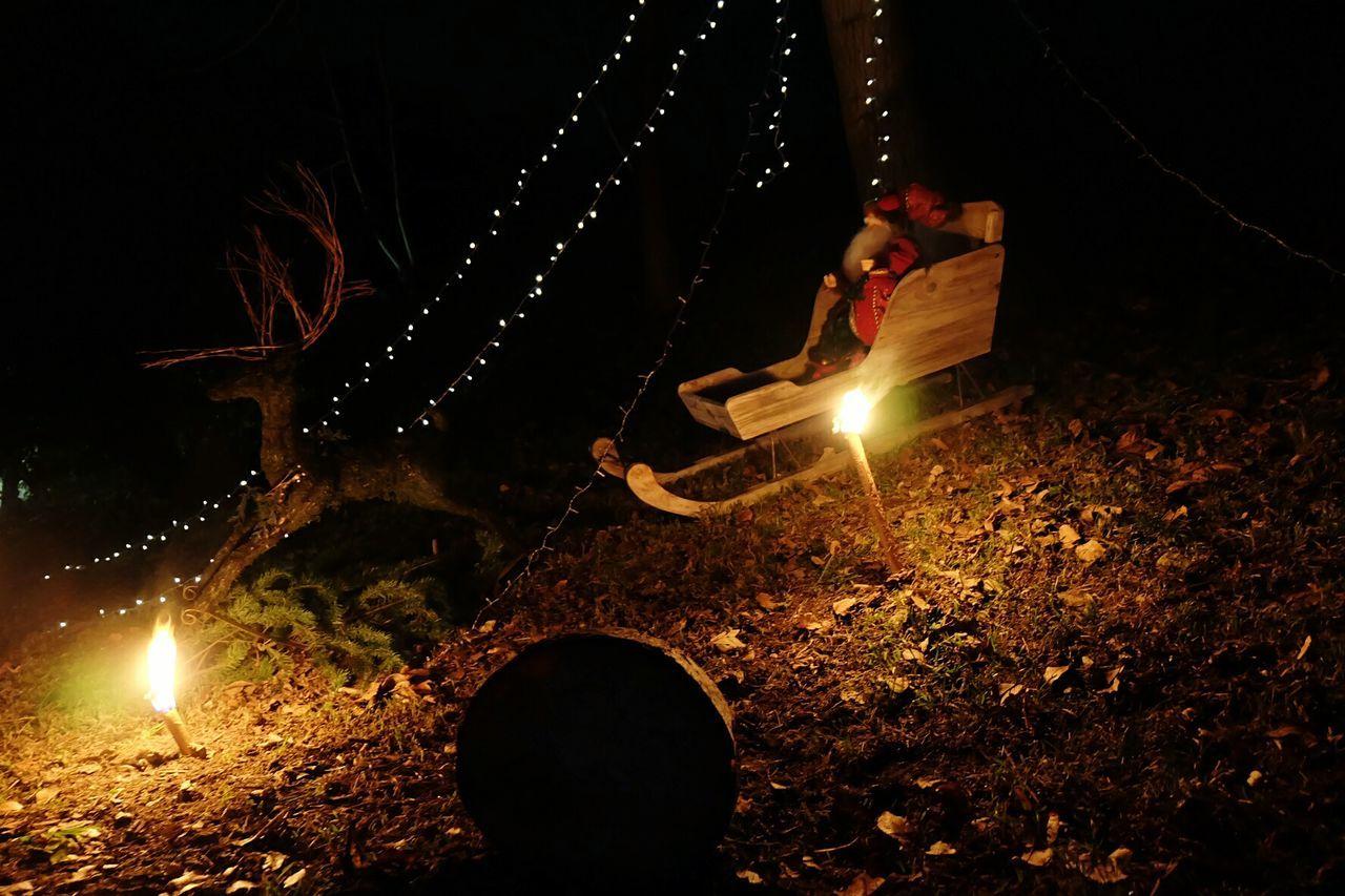 Night Illuminated Heat - Temperature Outdoors People Christmastime Christmas Lights Christmas Decoration Santa Claus Winter