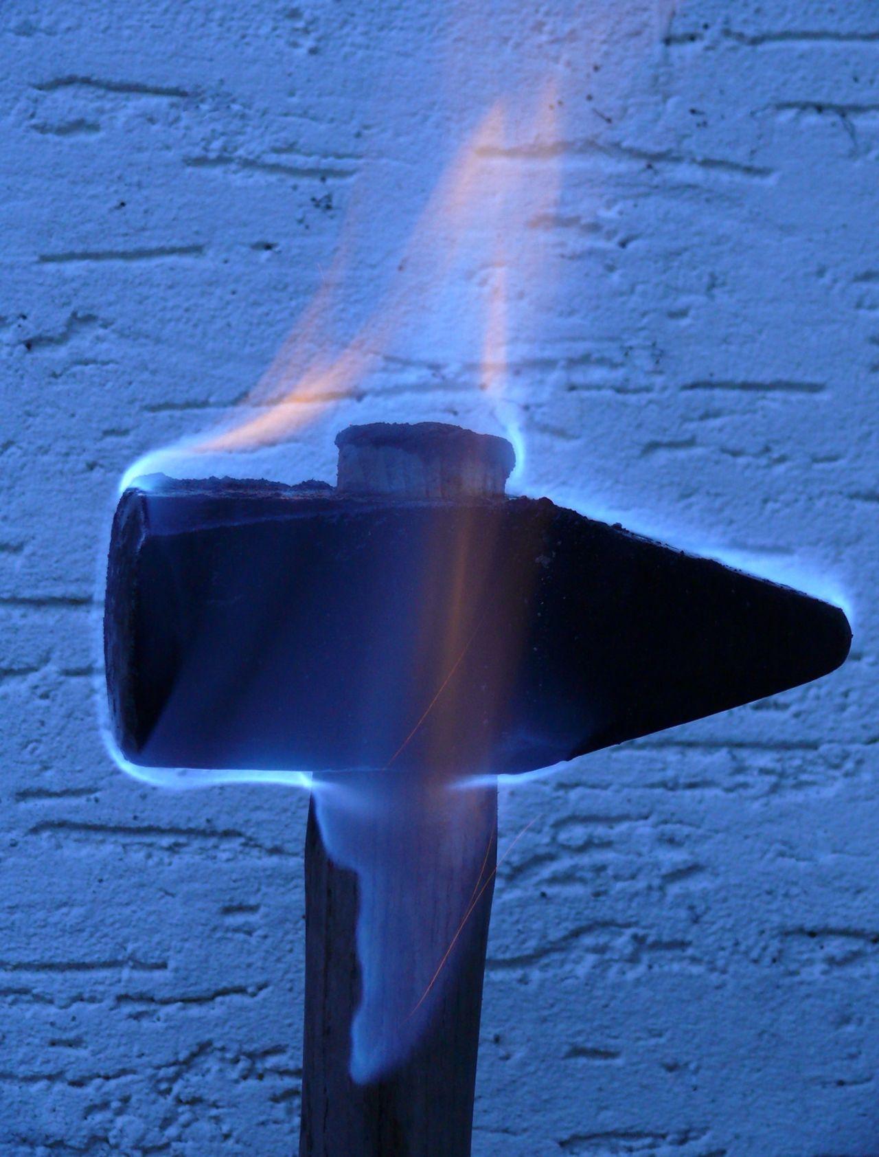 Blue Burning Close-up Germanische Mythologie Hammer Kriegshammer Metal Mjolnir Motion No People Outdoors Single Object Thor