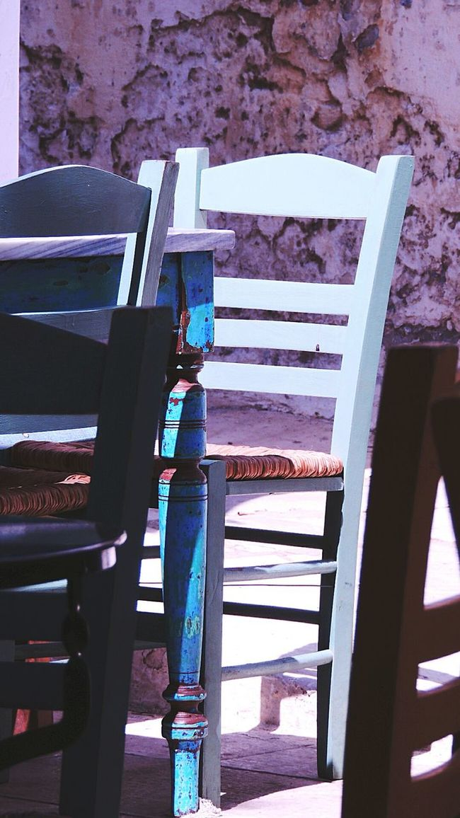 Tinos Greece Iland Chairs Blue Inspiring