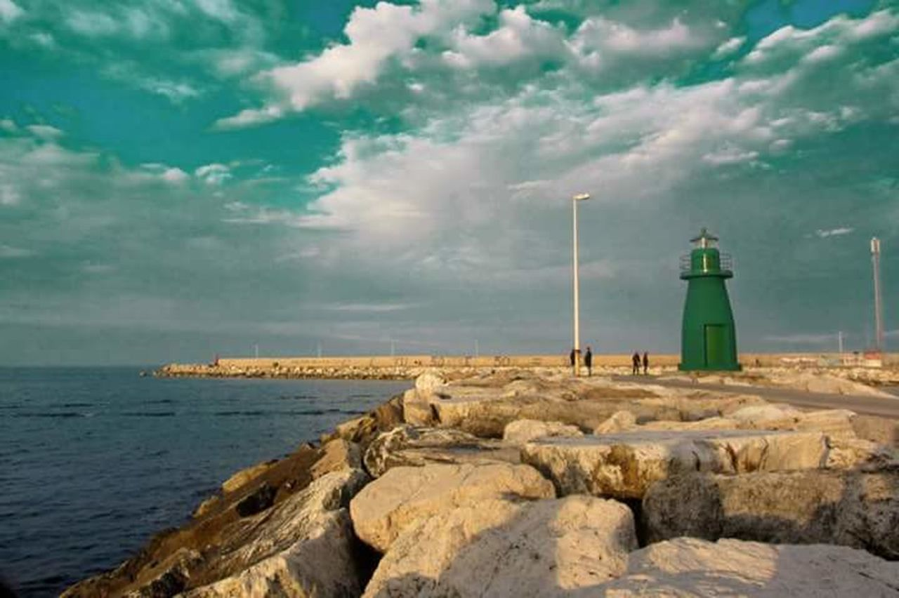 Nature Sea Cloud - Sky No People Beach Outdoors Water Sky Nautical Vessel Wind Turbine Horizon Over Water Sailboat Day Green Color Green Sea Pier Lighthouse_lovers Lighthouse, Beacon, Light, Guide, Tower, Warn, Civitanova Marche