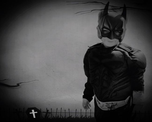 Monochrome Photography Blackandwhite One Person The Week Of Eyeem Kid Canonphotography From My Point Of View My Favorite Photo The EyeEm Facebook Cover Challenge TakeoverContrast Cute Open Edit Black & White Capture The Moment Halloween Batman Toddler  Eyes Fun