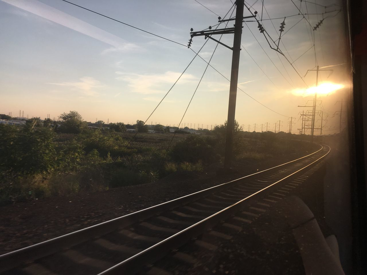 cable, transportation, connection, railroad track, rail transportation, sky, power line, electricity, no people, power supply, electricity pylon, sunset, tree, outdoors, nature, day, landscape, technology