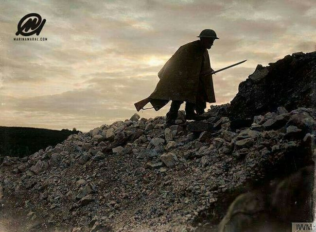A British sentry going up to his post near Beaumont Hamel, July 1916. by ww1 Colourised photos History Scenics Ww1 Man Soldier Silhouette Cloud - Sky Sky Ruins People Tranquil Scene