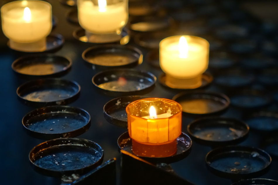 Beautiful stock photos of prayer, Candles, Flame, Illuminated, Individuality