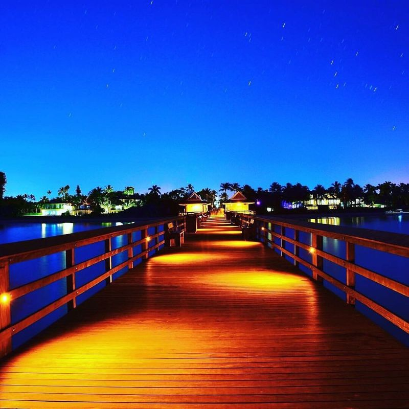 Blue Railing Clear Sky Nature The Way Forward Sky Footbridge Beauty In Nature Built Structure Tranquility Outdoors Water No People Tranquil Scene Scenics Bridge - Man Made Structure Architecture Day Naples Naplesflorida Florida Pier Nightphotography Nightphoto Nightpicture