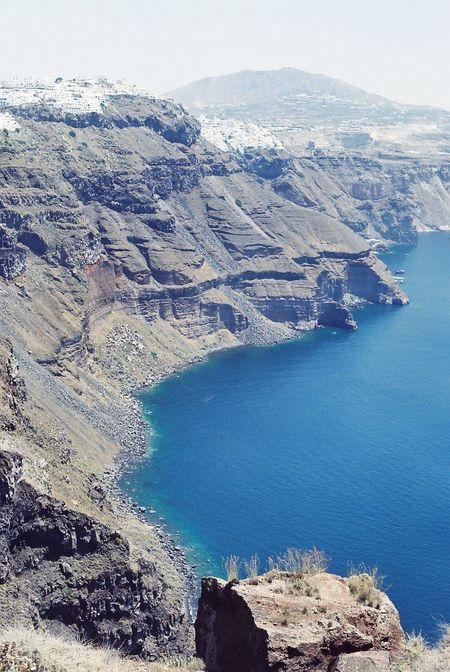Breach Coastline Film Film Photography Filmisnotdead Greece Mountain Range Rock Formation Santorini Scenics Sea View From Above