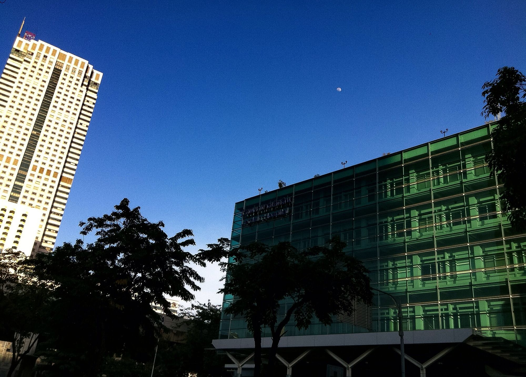 Daytime Crescent Moon In The Afternoon In Urban Downtown On The Walk On The Way Shot On IPhone Clear Sky Clear Blue Sky