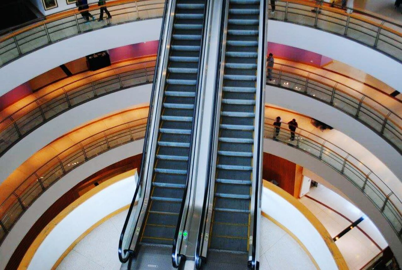 architecture, escalator, high angle view, steps and staircases, built structure, modern, indoors, staircase, futuristic, day, no people, fish-eye lens