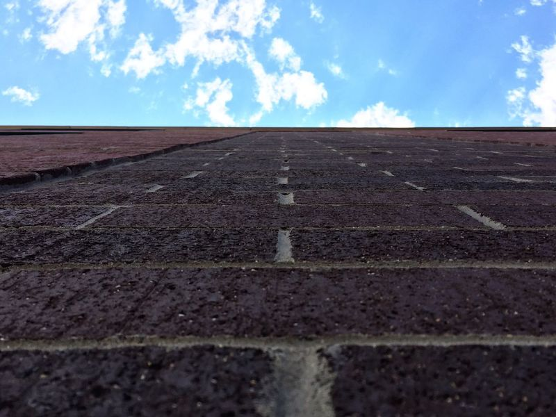 Outdoors Built Structure Architecture Sky Cloud - Sky Day No People Brick Wall Brick And Mortar Groove Pattern, Texture, Shape And Form