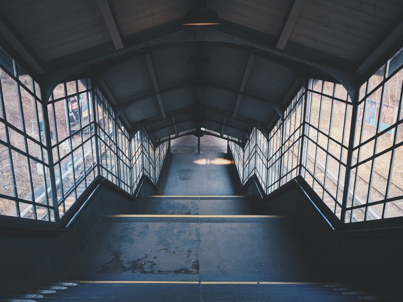 High Angle View Of Empty Staircase At Railroad Station