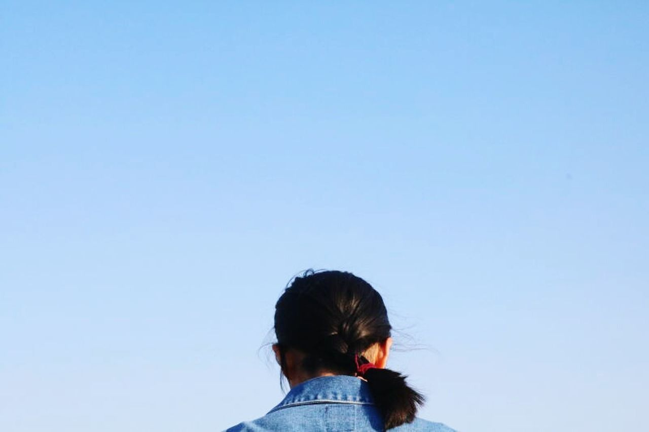 child, one person, childhood, headshot, blue, girls, children only, clear sky, people, human body part, sky, day, outdoors, adult