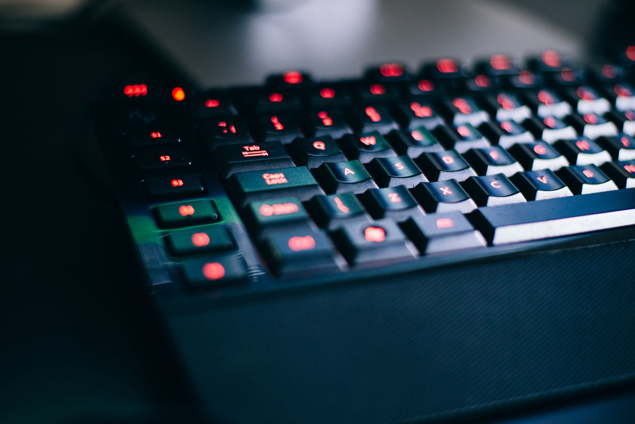 Depth of Gaming Black Color Close-up Defocused Focus On Foreground Gaming Illuminated In A Row Keyboard Multi Colored No People Office Repetition Selective Focus Still Life