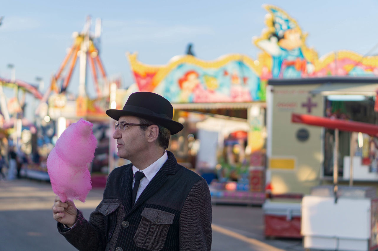 Mr. Cotton Candy II Portrait Portrait Of A Man  Real People One Person One Man Only Funfair Cottoncandy Cotton Candy Suit Hat Elegance Everywhere Charming Waist Up Outdoors Millennial Pink