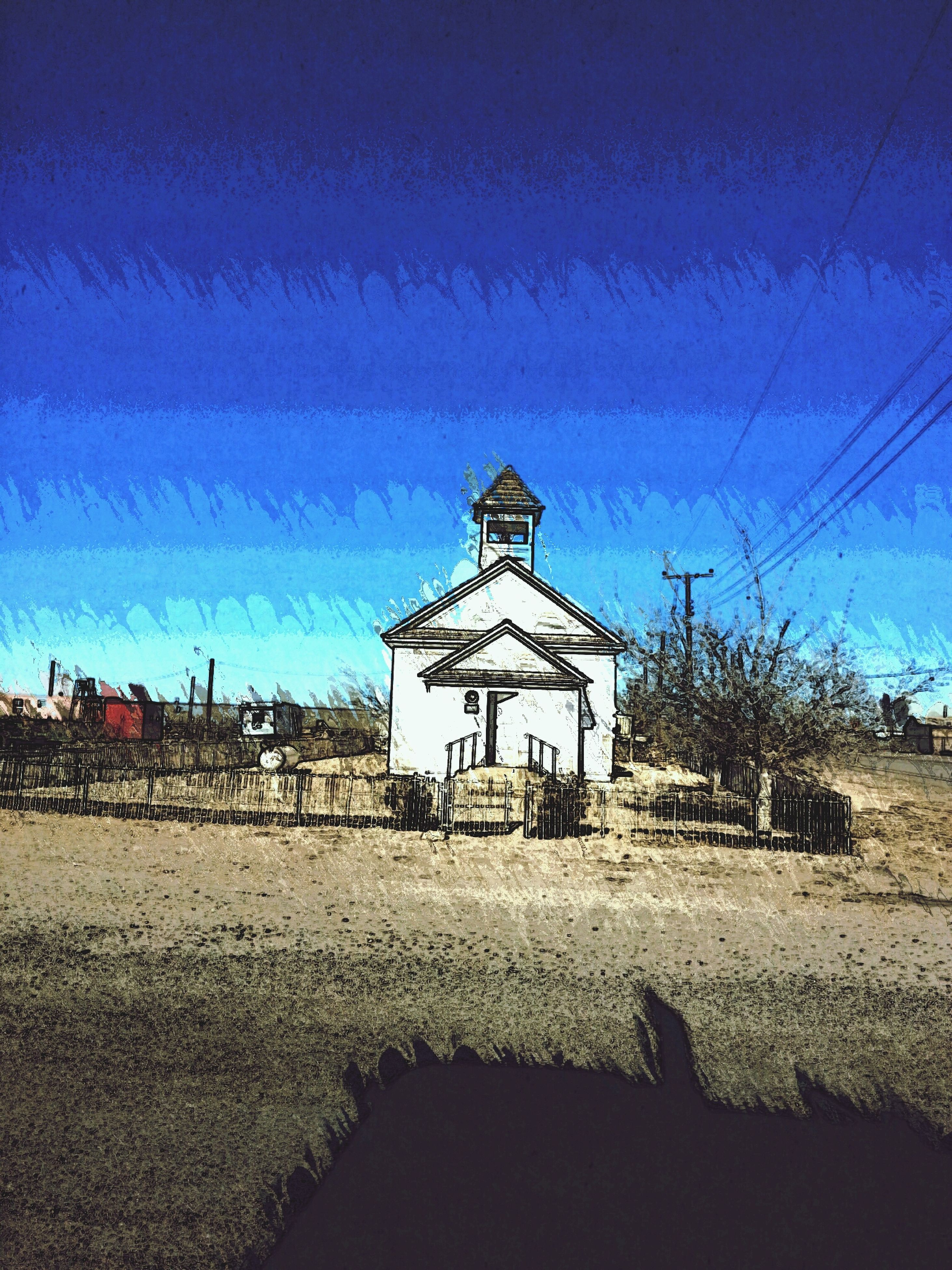 blue, building exterior, architecture, built structure, clear sky, copy space, sky, house, sunlight, shadow, day, incidental people, outdoors, unrecognizable person, religion, low angle view, church, men