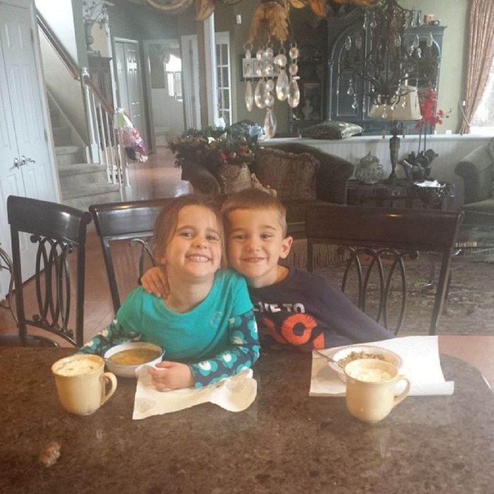 Soup and hot chocolate on such a cold day!! Smiles Lovebugs Twinlove Todayisagoodday