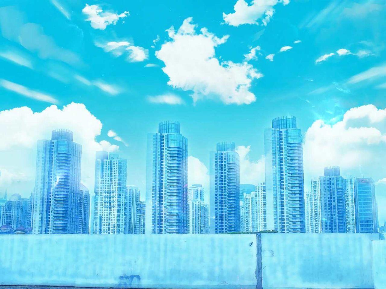 Skyscraper City Business Finance And Industry Urban Skyline Architecture Cloud - Sky Cityscape Sky Anime Animelover Manga Backgrounds