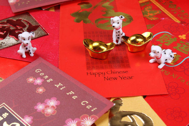 Miniature dogs with chinese new year decorations for year 2018 2018 Dogs Gold Angpow Astrology Chinese New Year Decorations Envelopes Ingots Miniature Packets Zodiac