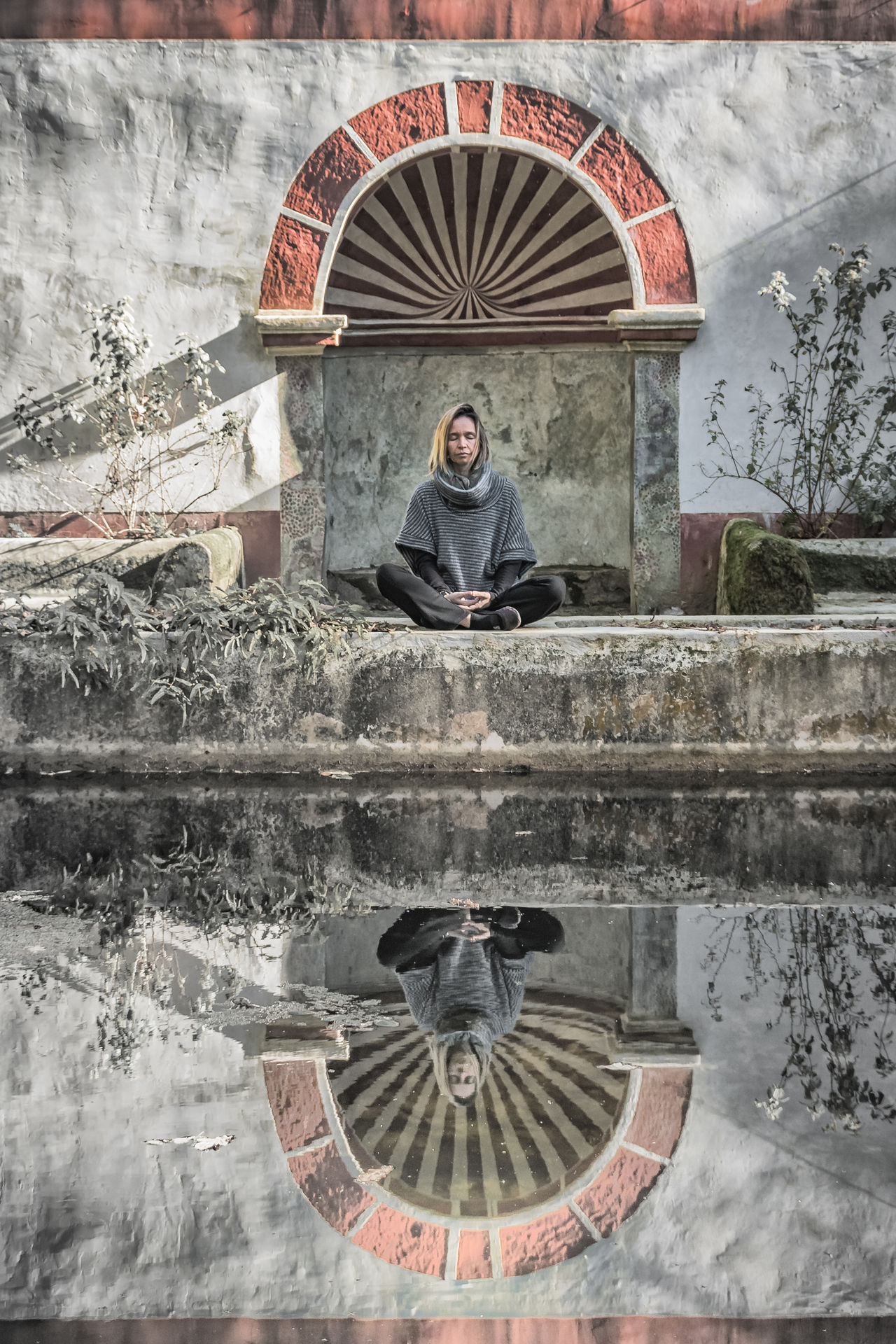 Ancient Architecture Calm Front View Full Length Meditate, Contemplate, Think, Consider, Ponder, Muse, Reflect, Deliberate Meditation Meditation Place Old Buildings One Person Peace And Quiet Pool Reflection Reflection Reflections Water Water Reflections Woman