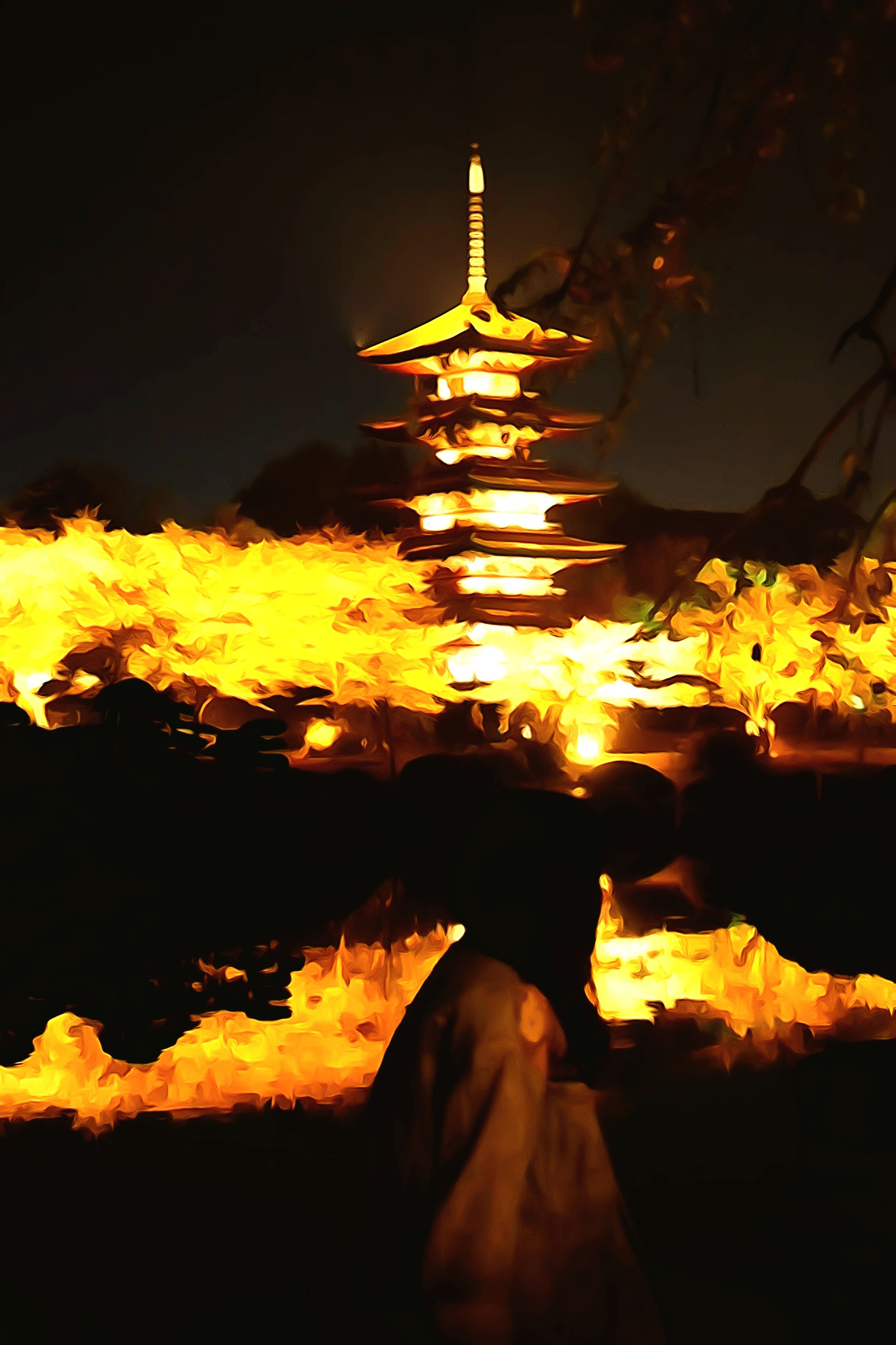 illuminated, night, place of worship, religion, spirituality, famous place, temple - building, tourism, travel destinations, burning, travel, international landmark, fire - natural phenomenon, flame, built structure, cultures, building exterior, architecture, temple