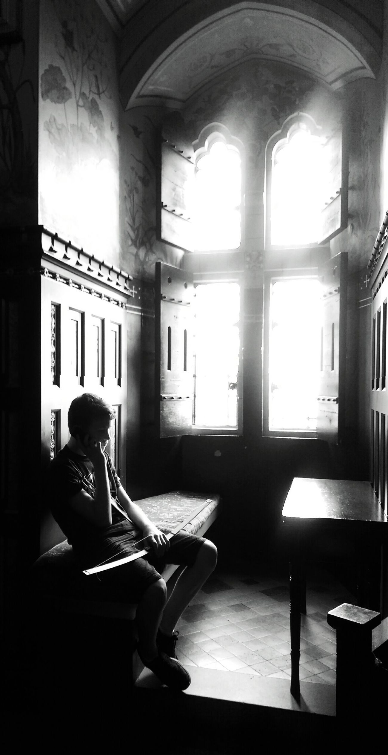 Blackandwhite Black & White Blackandwhite Photography Black&white Window Castles Beautiful Boy SpotlightsSitting Spotlight_shots Capture The Moment Sad & Lonely Sadness First Eyeem Photo Photography Spotlighting Cast Shadows Spotlighting Shadows & Lights Shadows And Silhouettes Shadow Play