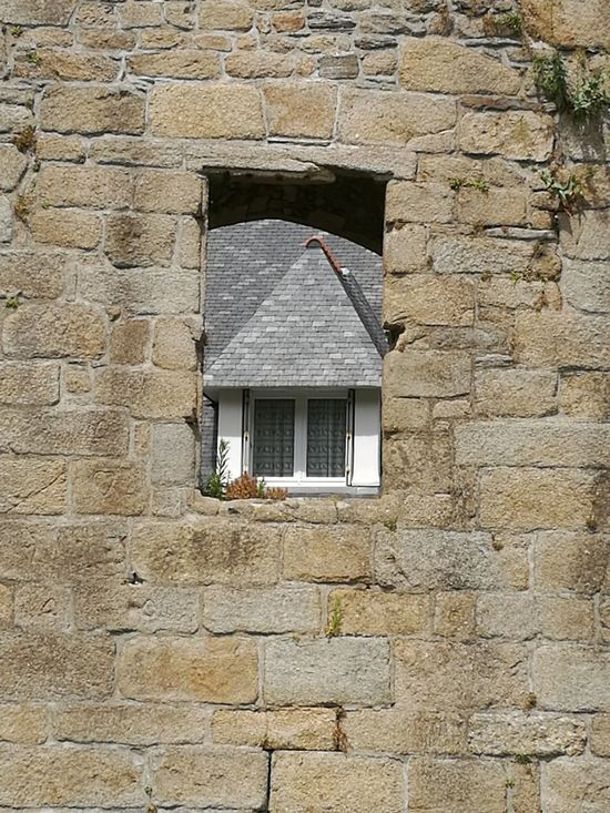 Old Stone Wall Modern Window Behind A Old Hennebont France Bretagne TakeoverContrast