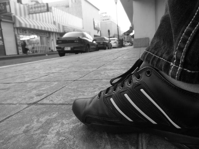 Monocrome Black And White Adidas Center Motorolamotog Relaxing Walking