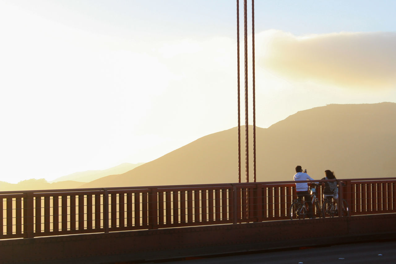 Bike Bridge California Cloud - Sky Golden Gate Bridge My Year My View San Francisco Sky Sunlight Sunset Taking Photos City Cityscape Two People Real People Tranquility Travel