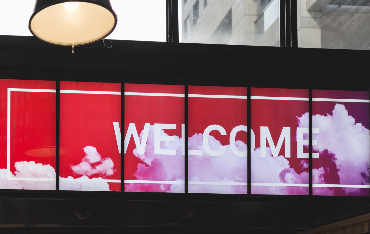 welcome Sign Architecture Built Structure Day Indoors  Neon Neon Life Neon Lights No People Welcome EyeEm Selects