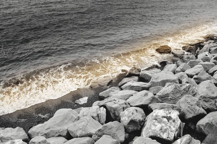 Wave Sea Water Beach Surf Beauty In Nature Power In Nature Nature Breaking Motion Rock - Object Water's Edge No People Outdoors