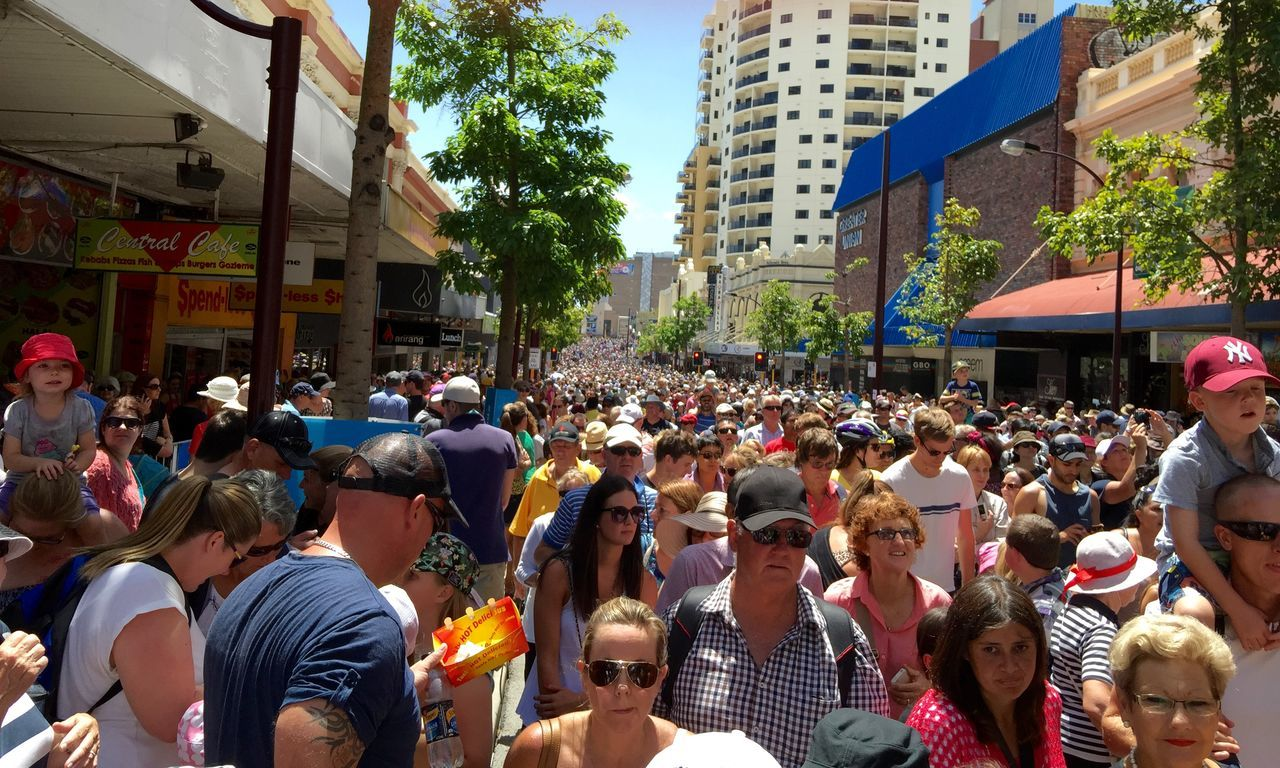 PERTH, AUSTRALIA, FEBRUARY 14, 2015: Journey of the Giants, Public Crowd at International arts festival Architecture Architecture Arts Culture And Entertainment Arts Festivals Australia Building Exterior City City Life Crowd Cultures Day Enjoyment Friendship Fun Large Group Of People Lifestyles Men Mixed Age Range Outdoors Perth Real People Street Togetherness Wall To Wall People Women