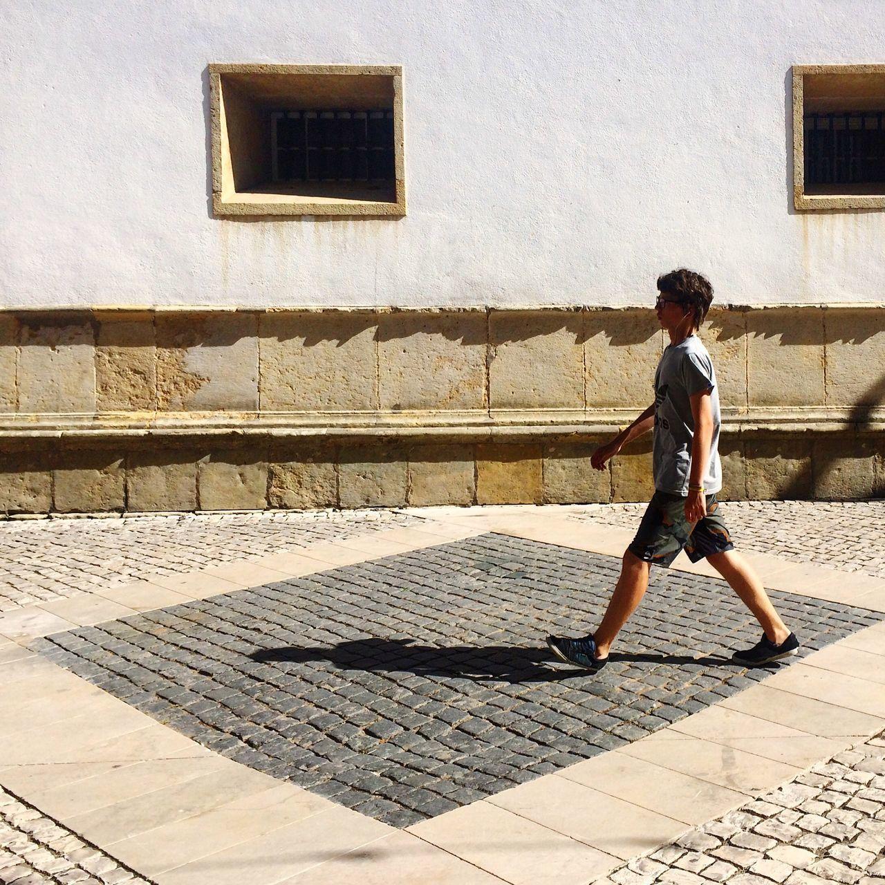 Tomar Portugal Street Streetphotography Calçada Portuguesa Rua De Serpa Pinto Man Walking Light And Shadow