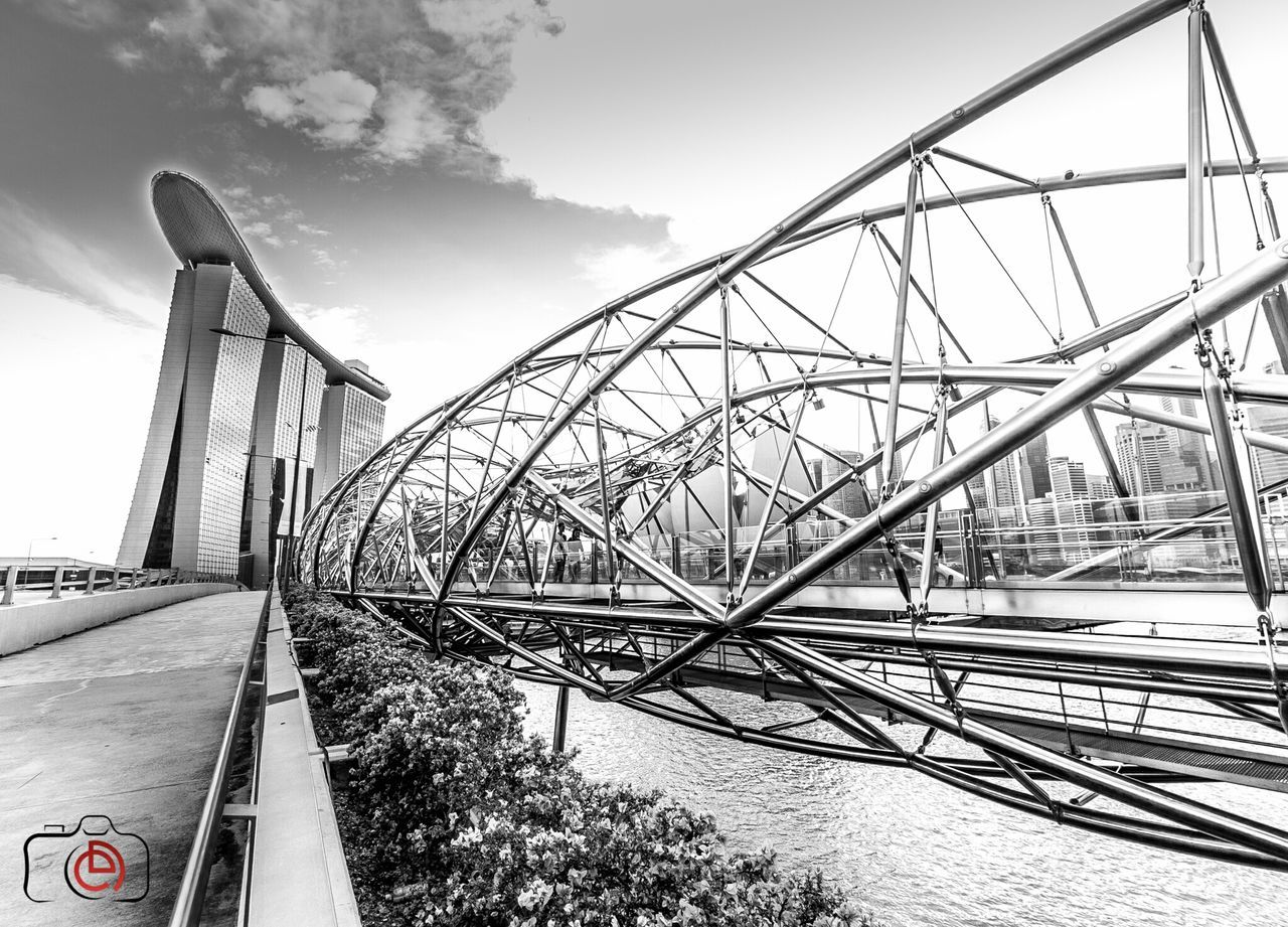 Helix bridge at Marina Bay Singapore Helix Bridge Singapore Photography Wide Angle STAINLESSSTEEL Blackandwhite Cityscapes B&w Photography Canon7d  Canon10-18mm