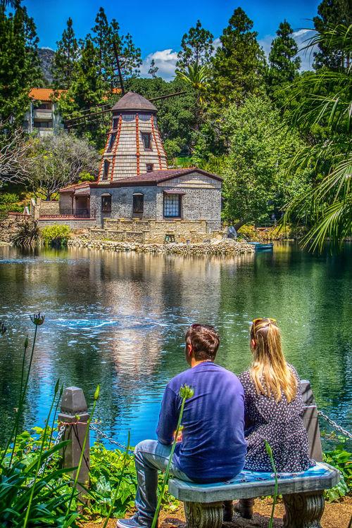 AWKWARD CLOSENESS Blonde Girl Chapel Couples❤❤❤ Hidden Gems  Lake Meditation Garden Outdoors Peaceful Relaxation Tranquility Windmill
