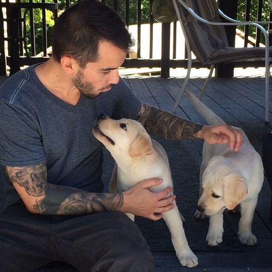 Tatted man with pupps... They r so cute :) follow him on ig @the1337one Tatted #handsome Man With Tattoo Tattoo