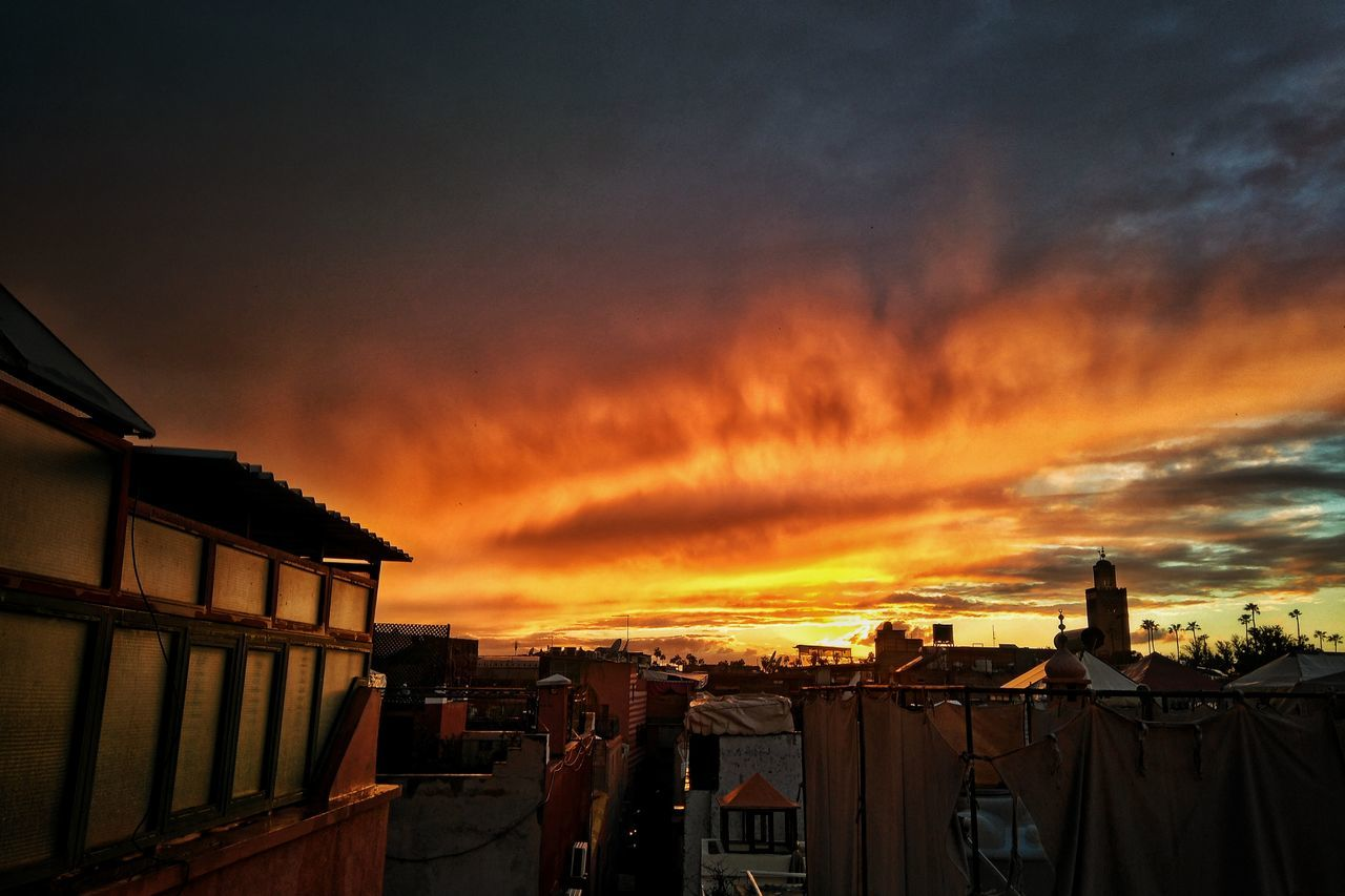 Good night Marrakesh. Sunset Dramatic Sky Sky No People Architecture City Cityscape Morroco Marrakesh High Contrast Landscape Travel Cloud - Sky Outdoors Building Exterior Built Structure Beauty In Nature Nature Traveling Travel Destinations Travel Photography