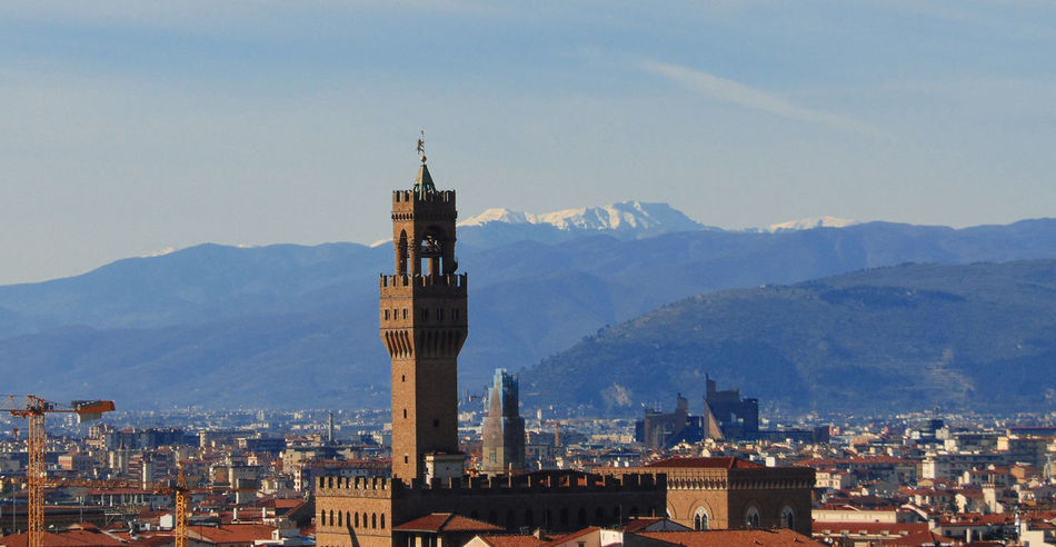Architecture Building Exterior Built Structure City Clock Tower Firenze Florence Mountain Mountain Range Nature Palazzo Vecchio Scenic Lookout Sky Tower Travel Destinations
