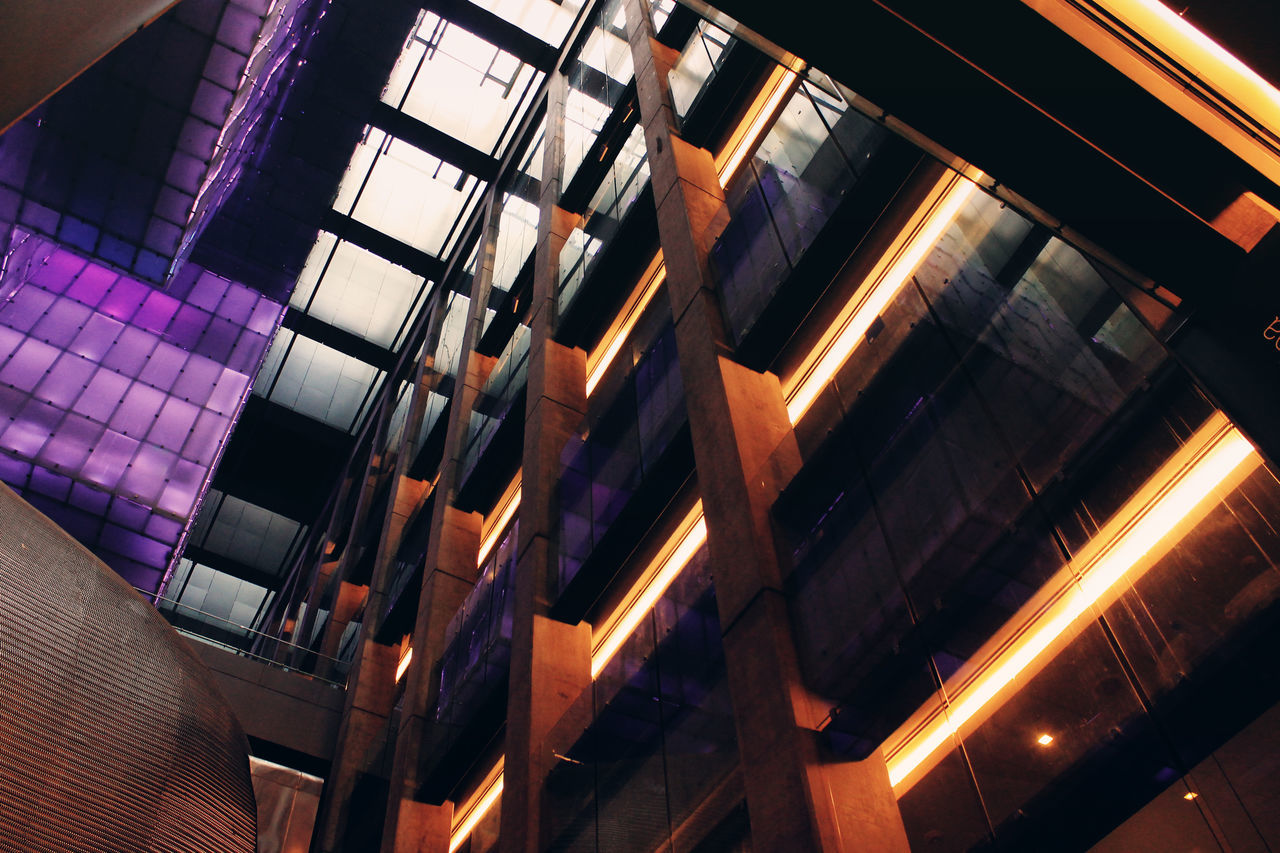 architecture, no people, indoors, low angle view, built structure, illuminated, window, building exterior, day
