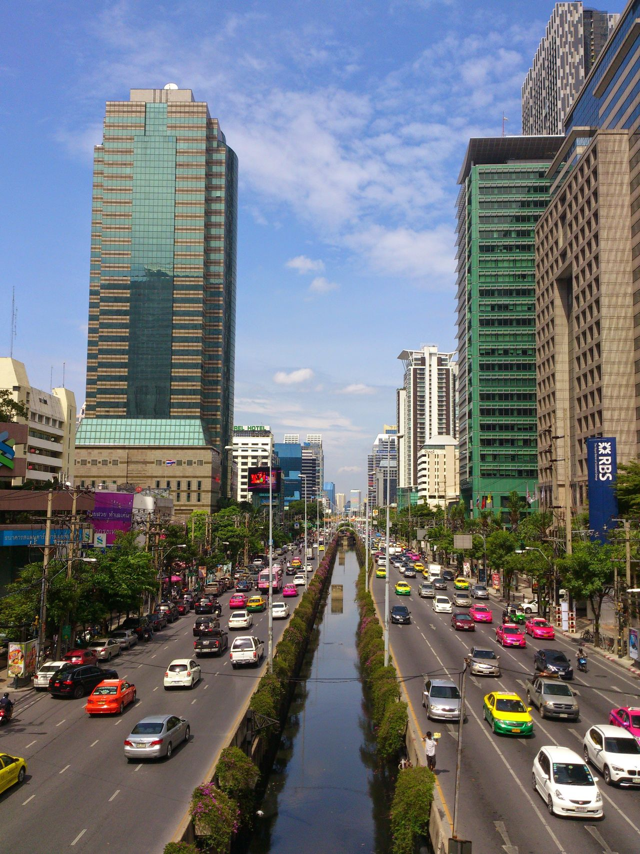 Thailand Bangkok City Architecture Building Exterior Transportation City Street City Life Traffic Outdoors Car Road Day No People Sky Land Vehicle City Cityscape