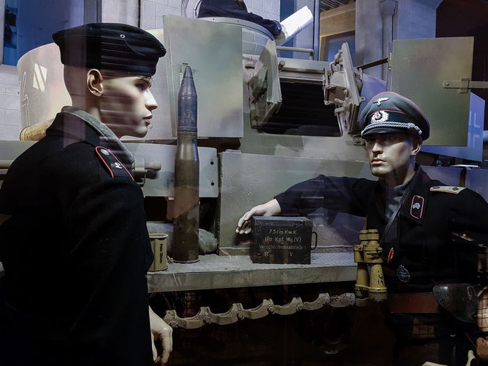 Overlord Museum, Colleville-sur-mer, Normandy, France, July 2017 D-Day German Soldiers Operation Overlord Overlord Museum Soldiers Education Exhibition Exhibits History Human Representation Museum Overlord Tank