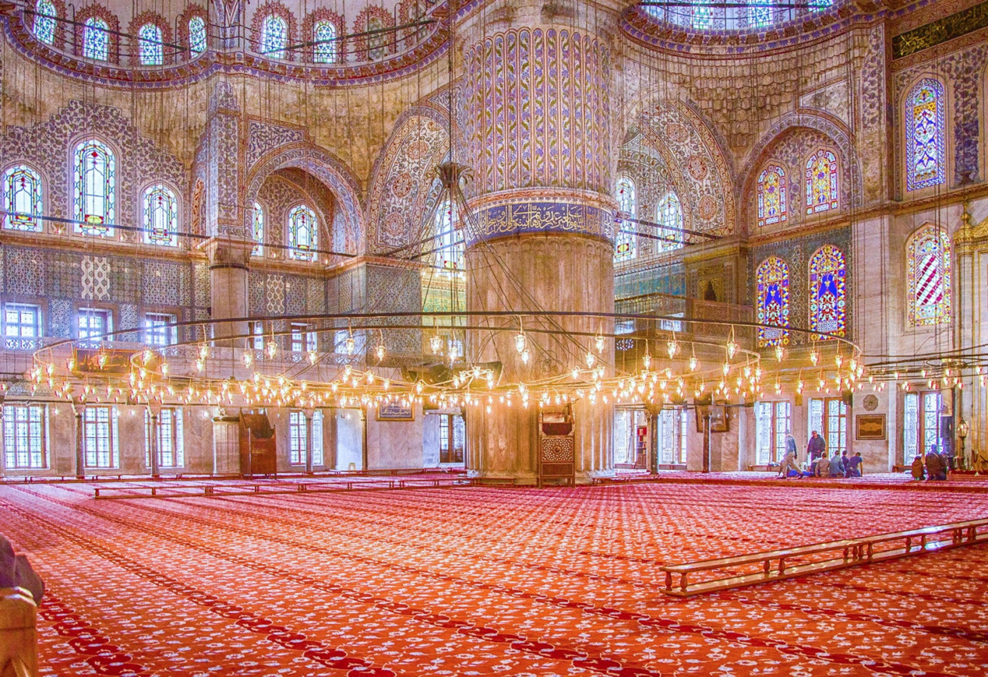 illuminated, group of objects, place of worship, red, carpet, repetition