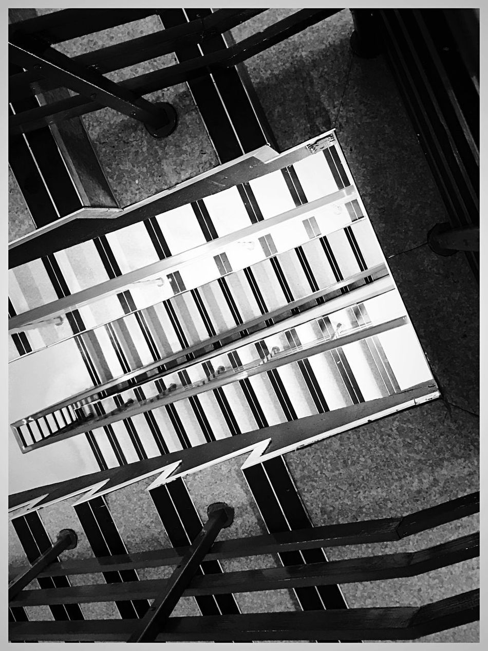 Railing Steps And Staircases Built Structure Staircase No People Indoors  Day Architecture Close-up Edited On IOS Messing Around Shotoniphone7plus IPhoneography Hospital Stairs Blackandwhite Iphoneonly IPhone