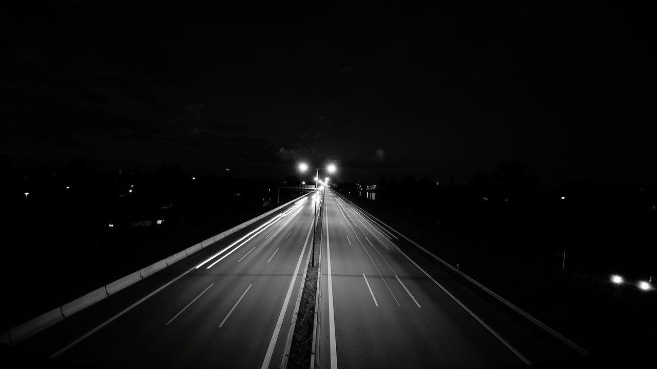 illuminated, night, road, transportation, the way forward, speed, no people, outdoors, nature, sky