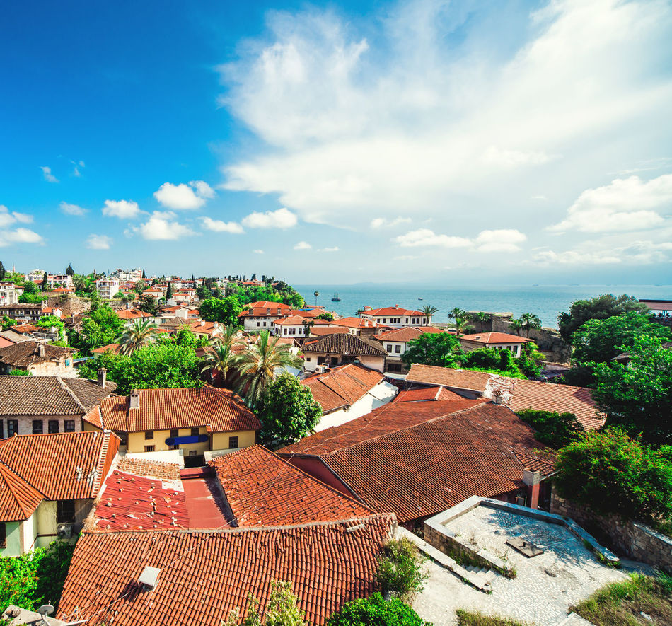 Antalya cityscape. Turkish resort Antalya Turkey Architecture ASIA City Cityscape Houses Landscape Middle East Nature Outdoors Panorama Panoramic Residential Building Rooftops Scenery Sea South Summer Tourism Town Travel Destinations Tropical Climate Turkey Turkish Riviera Urban Landscape