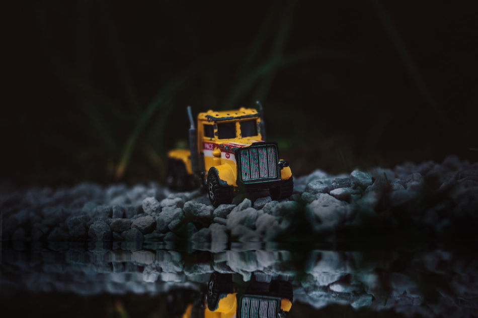 Truck Construction Site Edit Edited Forest Lake Landscape Night No People Outdoors Photoshop Reflection Road Shore Sky Story Toy Toy Truck Toyphotography Toys Transportation Truck Trucks Water Water Reflection Water Reflections
