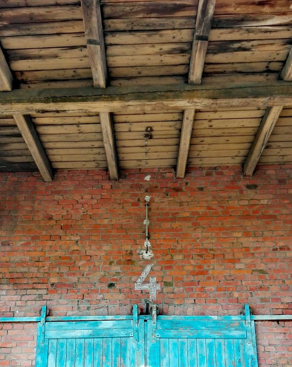 architecture, built structure, brick wall, wood - material, day, no people, hanging, indoors, building exterior