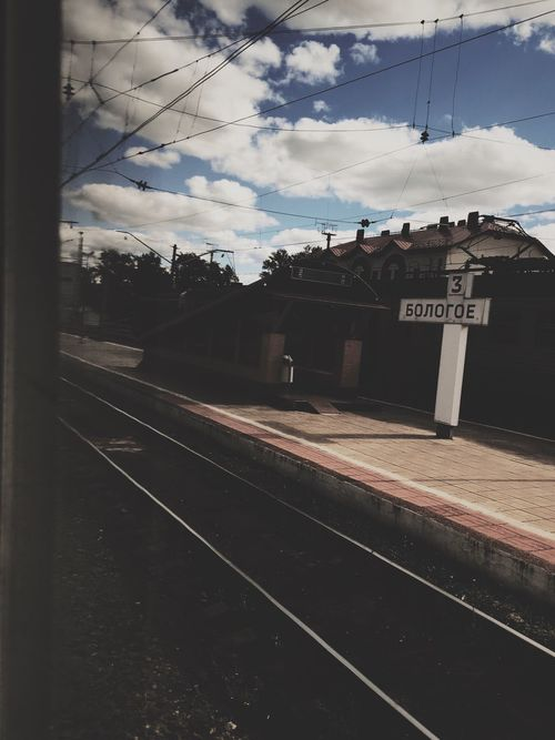 Sky Text Railroad Track Rail Transportation No People Cloud - Sky Railroad Station Day Outdoors Building Exterior Railroad Station Platform Architecture
